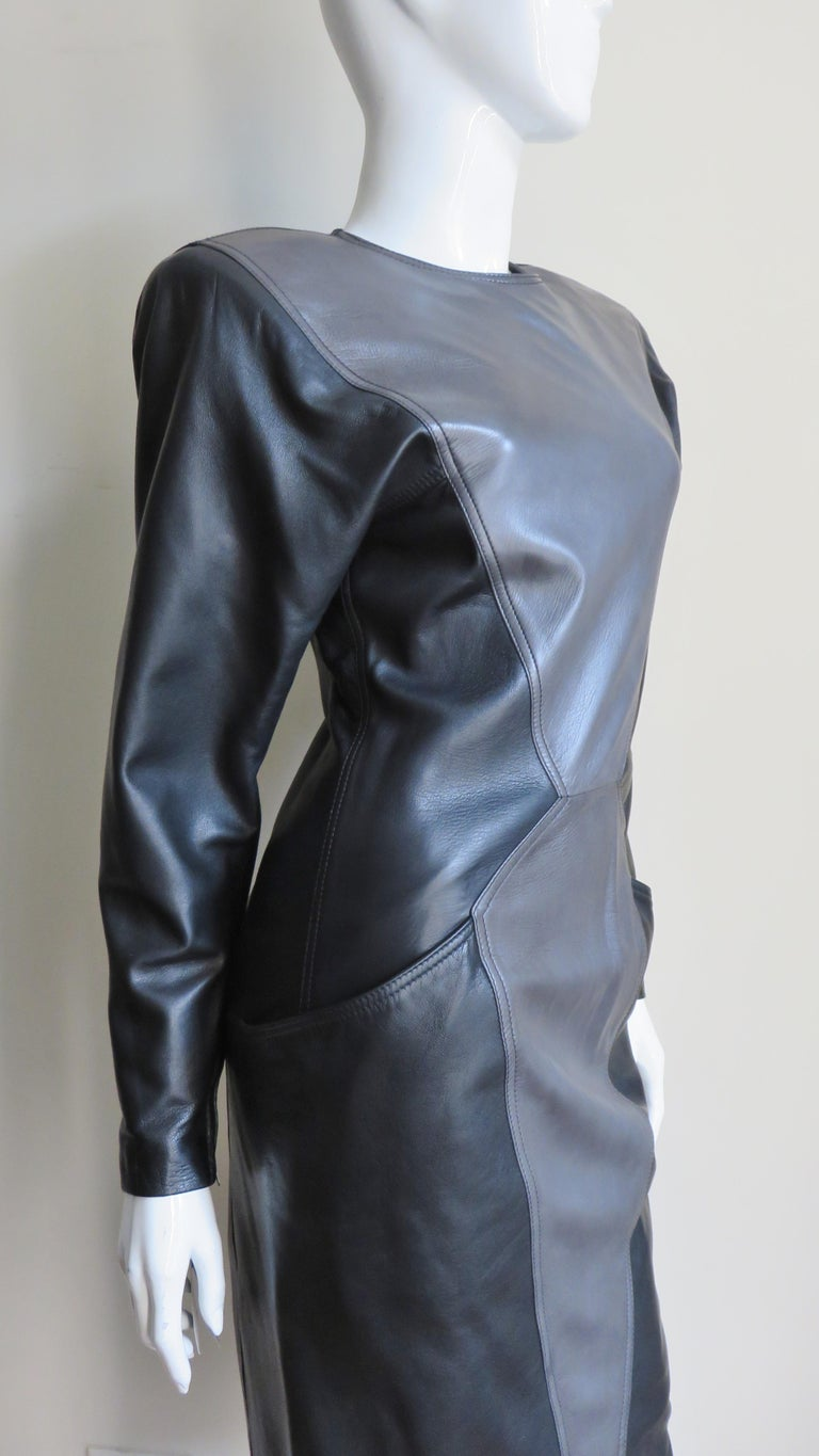 Emanuel Ungaro New Leather Color Block Dress 1980s For Sale 5