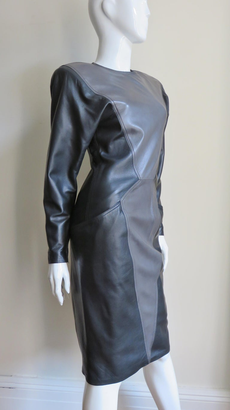 Emanuel Ungaro New Leather Color Block Dress 1980s For Sale 6