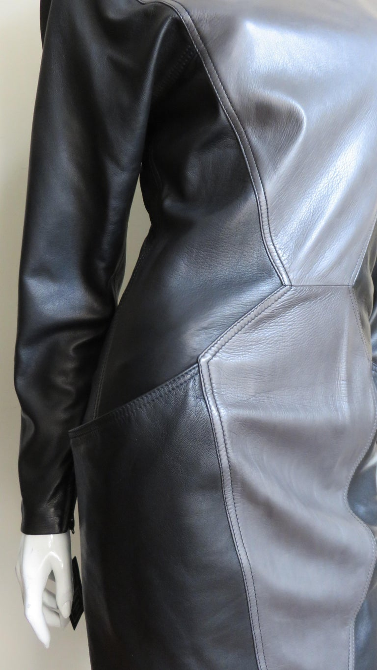 Emanuel Ungaro New Leather Color Block Dress 1980s For Sale 7