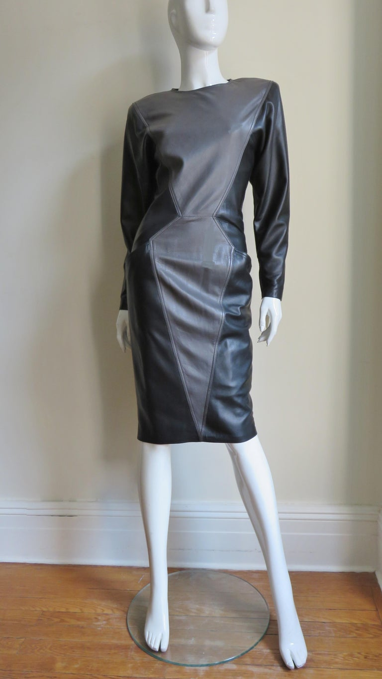 Emanuel Ungaro New Leather Color Block Dress 1980s For Sale 8
