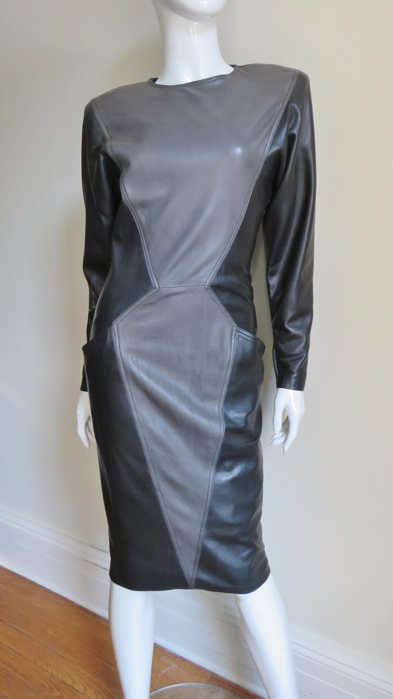 Emanuel Ungaro New Leather Color Block Dress 1980s For Sale 10