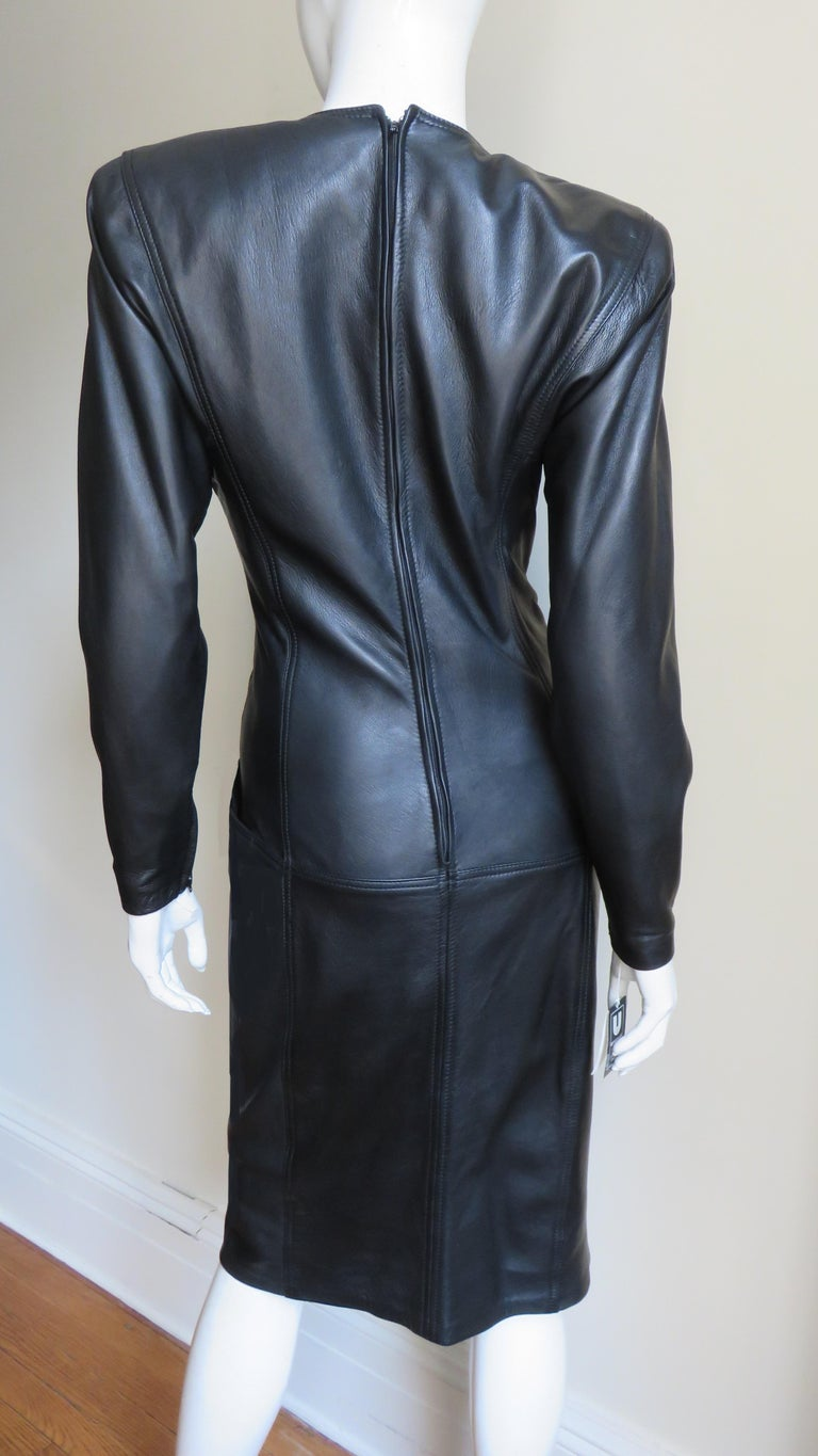 Emanuel Ungaro New Leather Color Block Dress 1980s For Sale 11