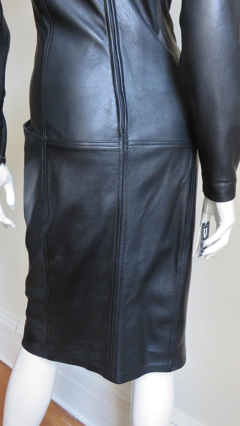 Emanuel Ungaro New Leather Color Block Dress 1980s For Sale 12