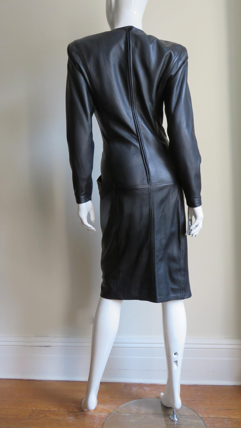 Emanuel Ungaro New Leather Color Block Dress 1980s For Sale 13