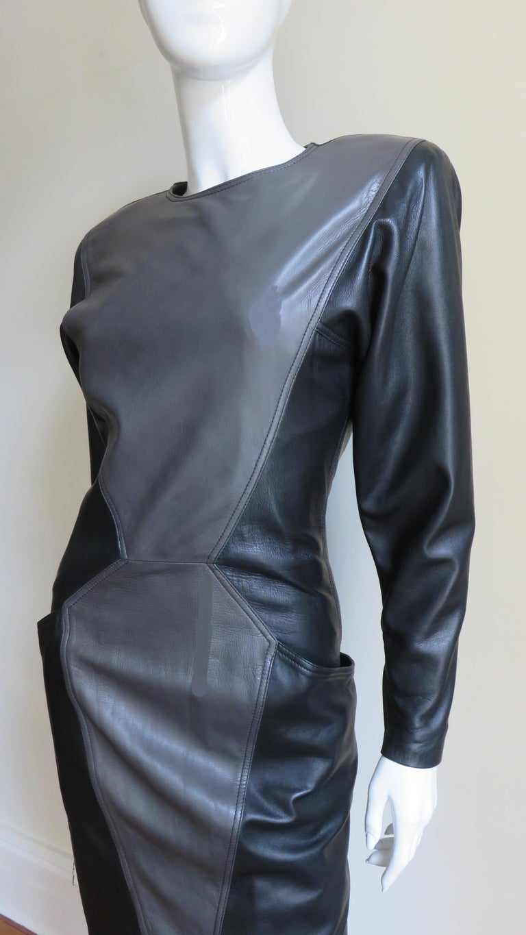 Gray Emanuel Ungaro New Leather Color Block Dress 1980s For Sale