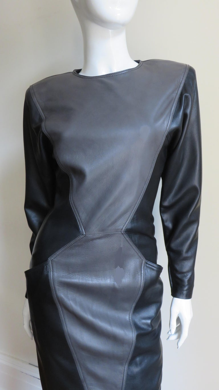 Emanuel Ungaro New Leather Color Block Dress 1980s In New Condition For Sale In New York, NY