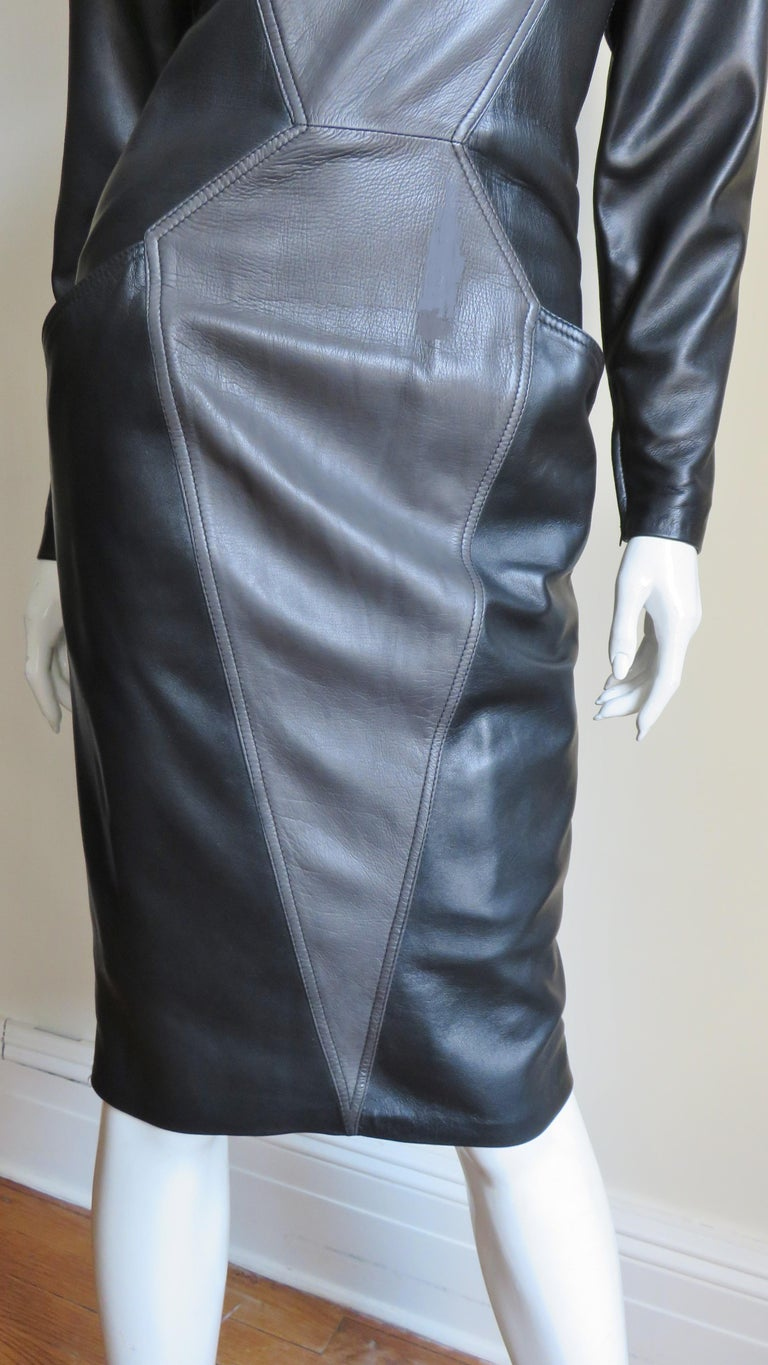 Women's Emanuel Ungaro New Leather Color Block Dress 1980s For Sale