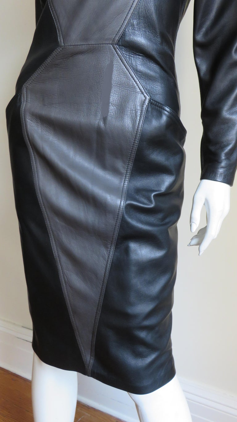 Emanuel Ungaro New Leather Color Block Dress 1980s For Sale 1