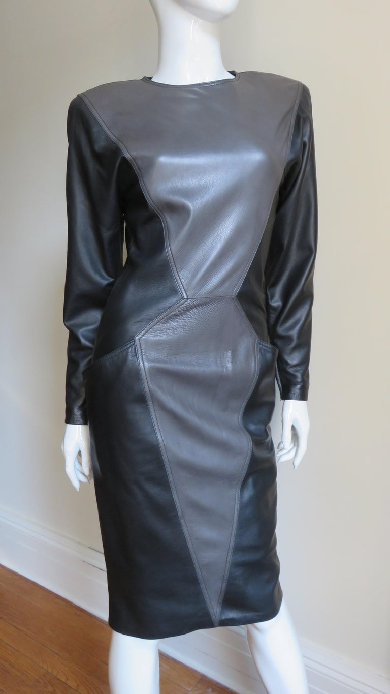 Emanuel Ungaro New Leather Color Block Dress 1980s For Sale 2