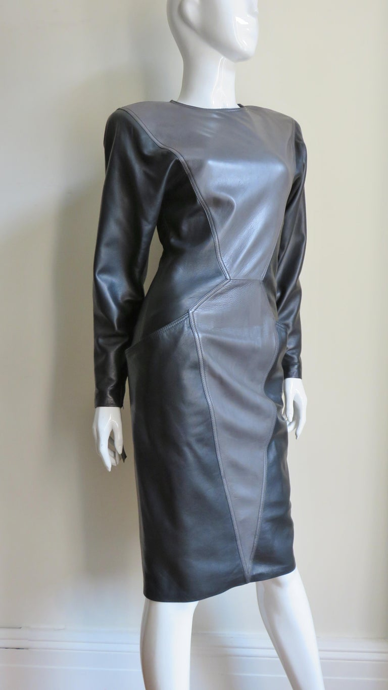 Emanuel Ungaro New Leather Color Block Dress 1980s For Sale 3