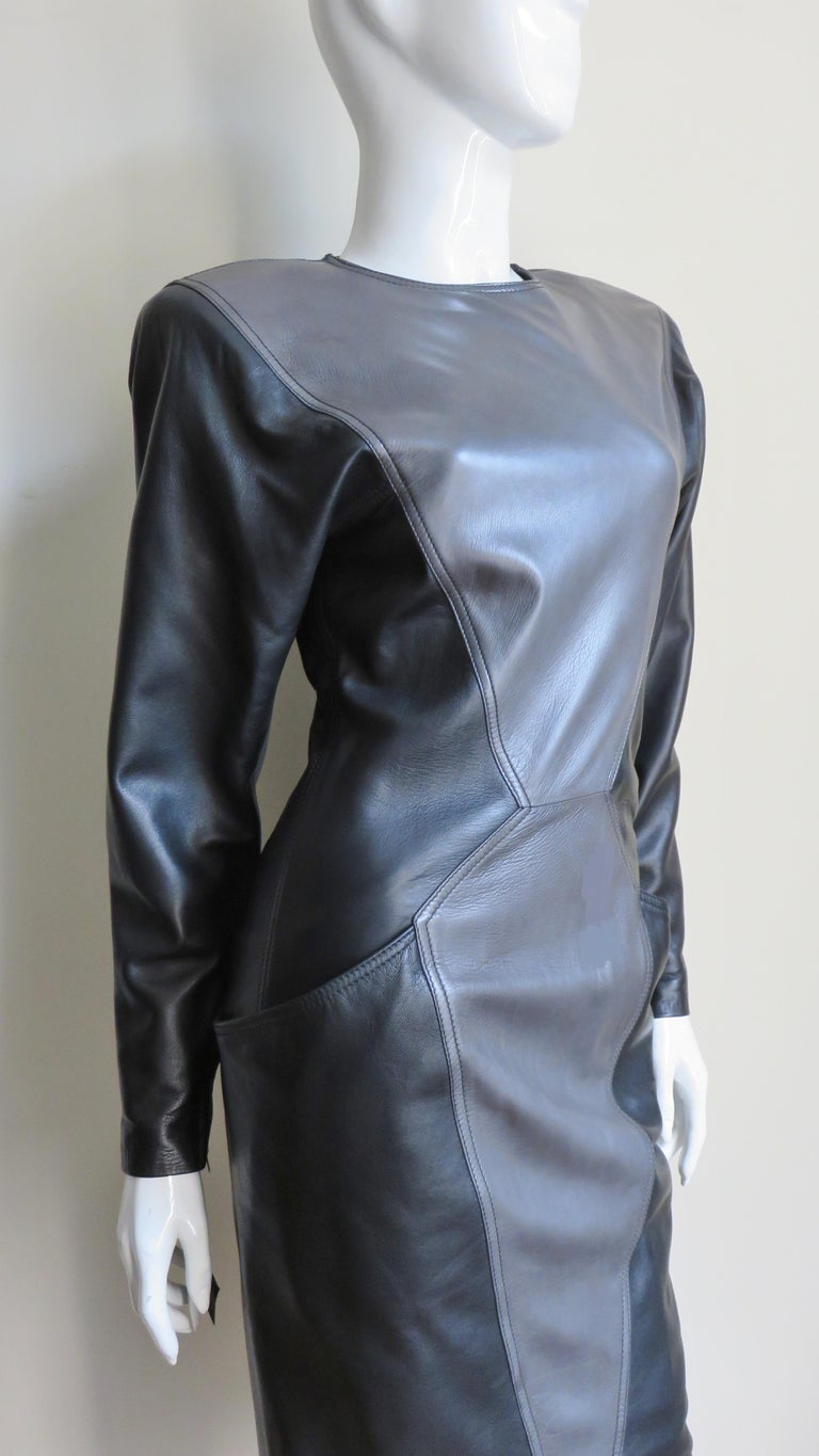 Emanuel Ungaro New Leather Color Block Dress 1980s For Sale 4