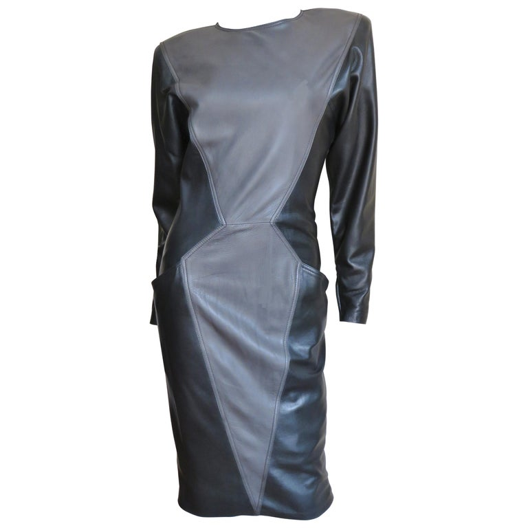 Emanuel Ungaro New Leather Color Block Dress 1980s For Sale