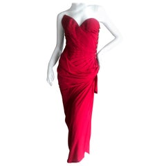 Emanuel Ungaro Numbered Haute Couture Fall 1984 Red  Strapless Evening Dress