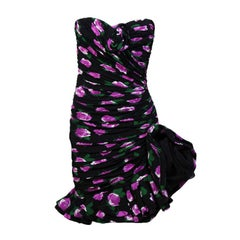 Emanuel Ungaro Numbered Haute Couture Sexy Strapless Floral Evening Dress