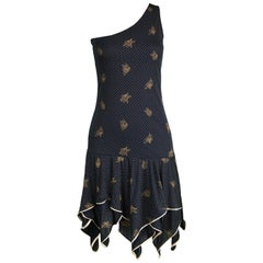 Emanuel Ungaro One Shoulder Black & Gold Party Dress, 1970s