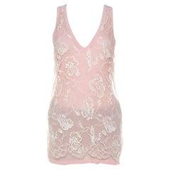 Emanuel Ungaro Pale Pink Floral Lace Overlay Tank Top L
