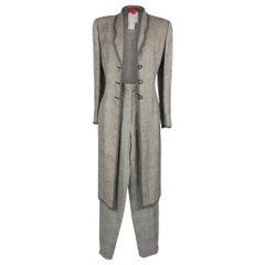 Emanuel Ungaro Pant Suit Long Line Jacket Black White Window Pane 12 NWT