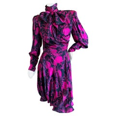 Emanuel Ungaro Parallel Fall 1985 Strong Shoulder Silk Dress with Pussy Bow