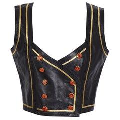 Emanuel Ungaro Parallèle Paris black soft calfs leather short vest