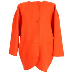 Emanuel Ungaro Paris Orange Wool Poncho Batwing Sleeves Coat 1980s