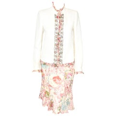 Emanuel Ungaro Paris Pink & Ivory Metallic Tweed Ruffled  3 pc Suit