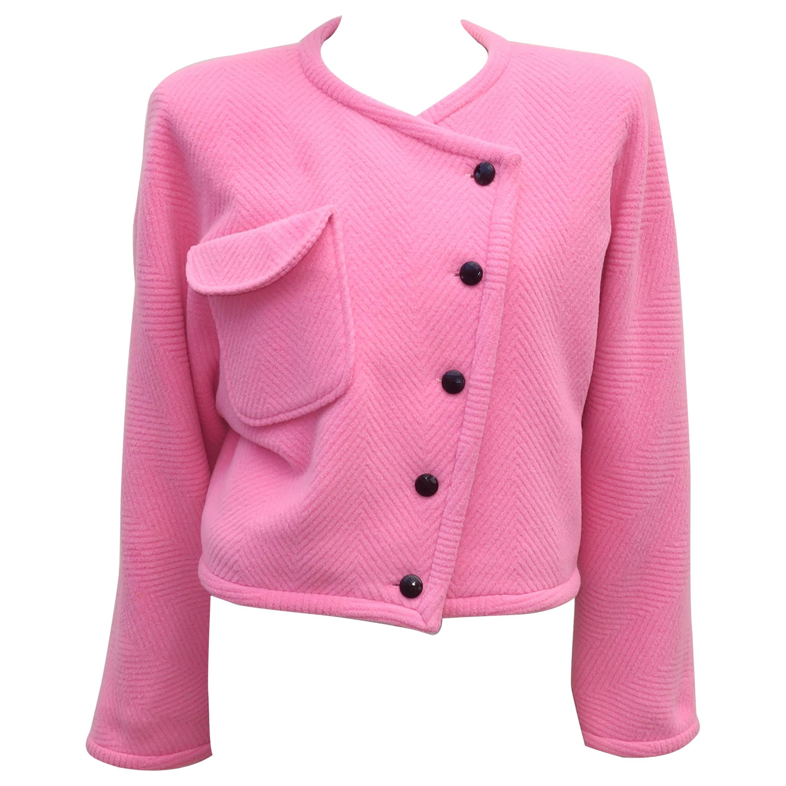 Emanuel Ungaro Pink Herringbone Wool Cropped Jacket, 1980's