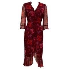 Emanuel Ungaro Purple, Pink and Red Floral Print Sheer Wool Dress