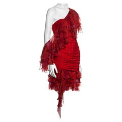 Emanuel Ungaro red and pink strapless mini dress and infinity scarf, ss 2003