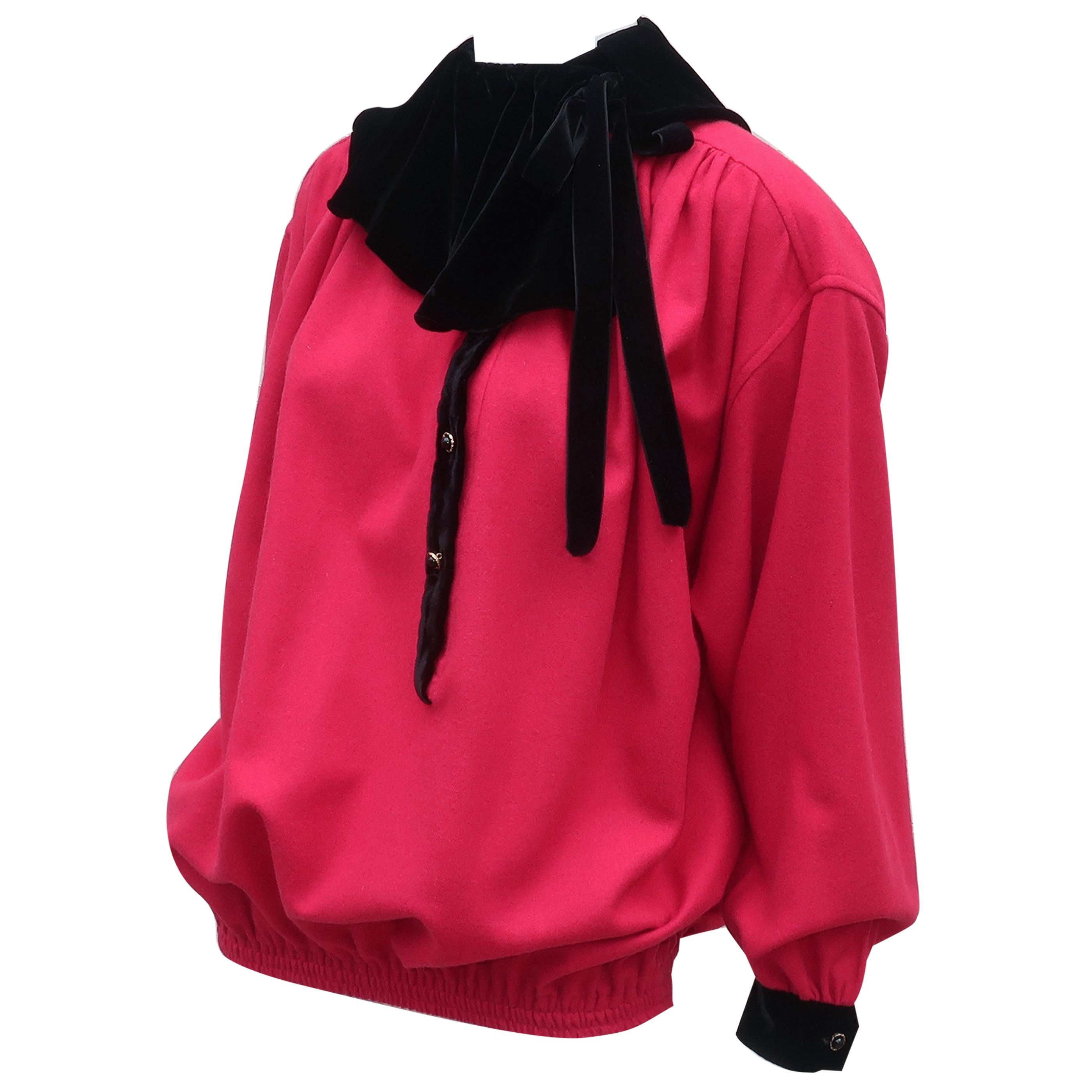 Emanuel Ungaro Red Wool & Black Velvet Top, 1980's