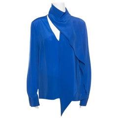 Emanuel Ungaro Royal Blue Silk Draped Neckline Detail Long Sleeve Blouse L