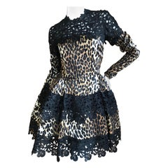 Emanuel Ungaro Seventies Guipure Lace Leopard Print Pouf Mini Dress