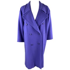 EMANUEL UNGARO Size 12 Purple Wool / Nylon Double Breasted Coat
