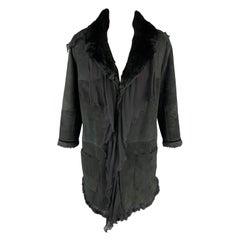 EMANUEL UNGARO Size 2 Black Rabbit Fur Lined Shearling Ruffle Coat