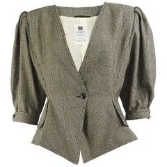 Emanuel Ungaro Vintage 1980s Exaggerated Shoulder Puff Sleeve Blazer Jacket