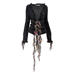 Emanuel Ungaro Vintage Black Knit & Silk Chiffon Cardigan, 2000s