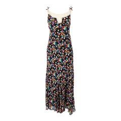 Emanuel Ungaro Vintage Black Silk & Sheer Lace Maxi Dress, 2000s