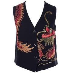 Emanuel Ungaro Vintage Black Vest Embroidered W Red & Gold Dragon
