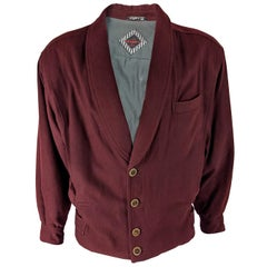 Emanuel Ungaro Vintage Mens Wine Red Wool Jacket, 1980s