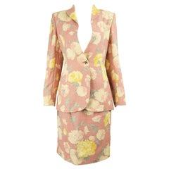 Emanuel Ungaro Vintage Pink Floral Linen Print Jacket & Skirt Suit, 1990s