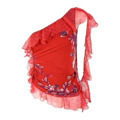 Emanuel Ungaro Vintage Red Ruched & Ruffled Silk Party Top, 2000s