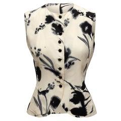 Emanuel Ungaro White & Black Silk Floral Print Top