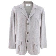 Emanuele Maffeis Grey Cashmere Single Breasted Knit Blazer Jacket - Size XL