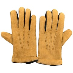 Emanuele Maffeis Luxurious Leather Mustard Gloves SIZE 8.5