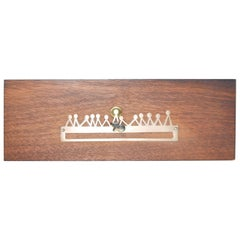 Emaus Last Supper Modern Abstract Wood Art Plaque Silver Metal, Mexico, 1960s