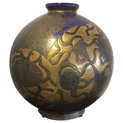 Emaux De Longwy Gold and Blue Snake Contemporary Vase