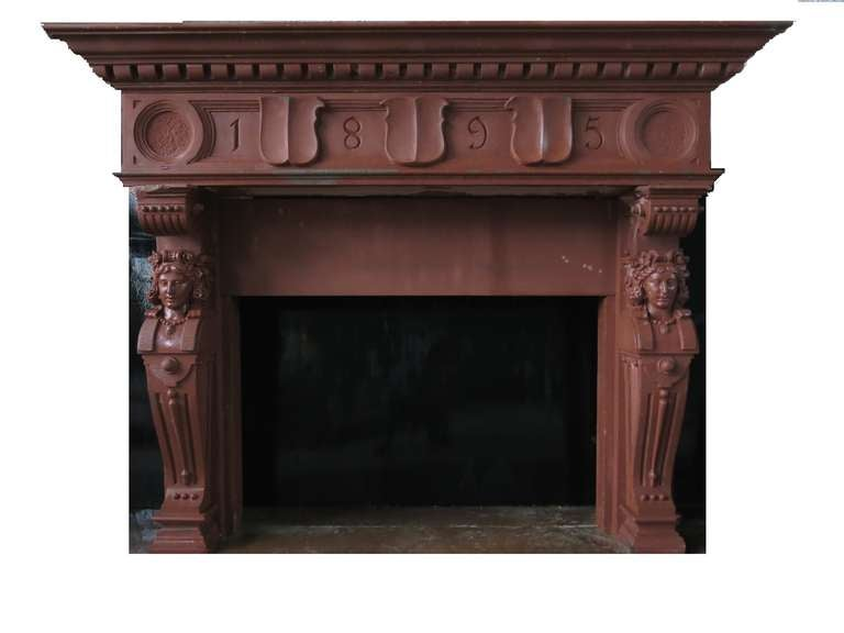 Embassy-Quality Fireplace Renaissance Caryatid Statues Dated 1895, France For Sale 4