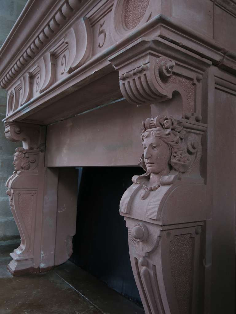 Exceptional and rare French Embassy-quality fireplace Renaissance style with Cariatides dated 1895, France. Original. In pure stone dit