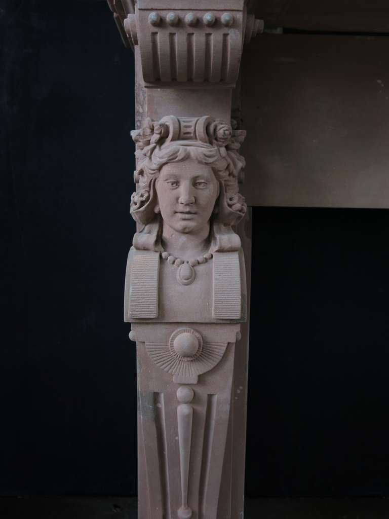 Hand-Crafted Embassy-Quality Fireplace Renaissance Caryatid Statues Dated 1895, France For Sale