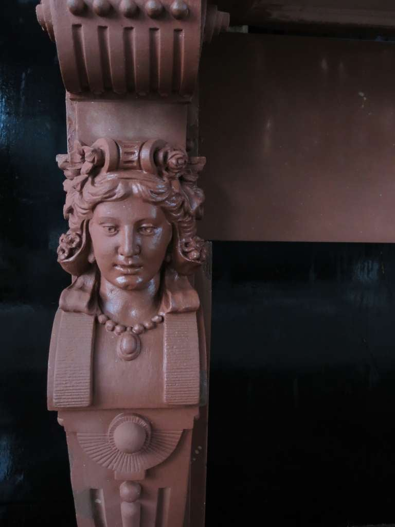19th Century Embassy-Quality Fireplace Renaissance Caryatid Statues Dated 1895, France For Sale