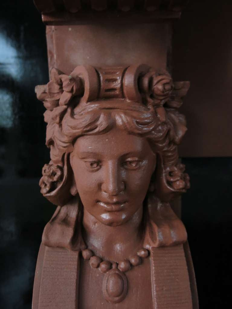 Embassy-Quality Fireplace Renaissance Caryatid Statues Dated 1895, France For Sale 1